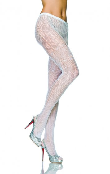 Vertical striped crochet pantyhose w/ lace thigh detail
