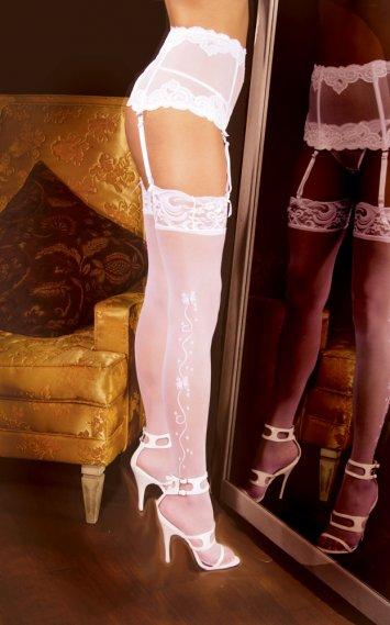Wedding bells Sheer Thigh Hi with Lace Top