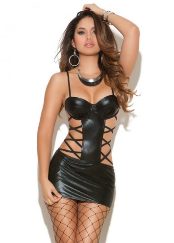 Wet Look Strappy Side Cutout Mini Dress