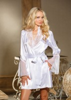 White Charmeuse Lace Robe
