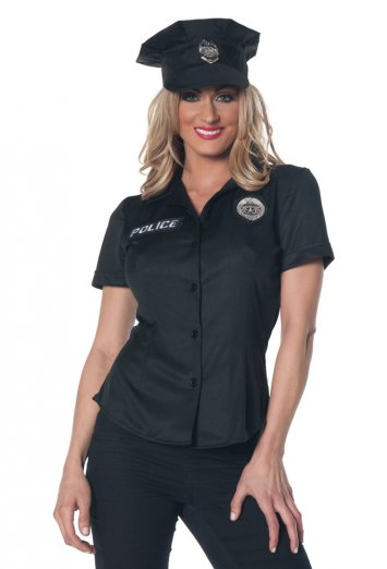 Womens Police Shirt Plus Size Adult Costume